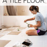 woman painting a tile floor with text overlay - how to paint a tile floor