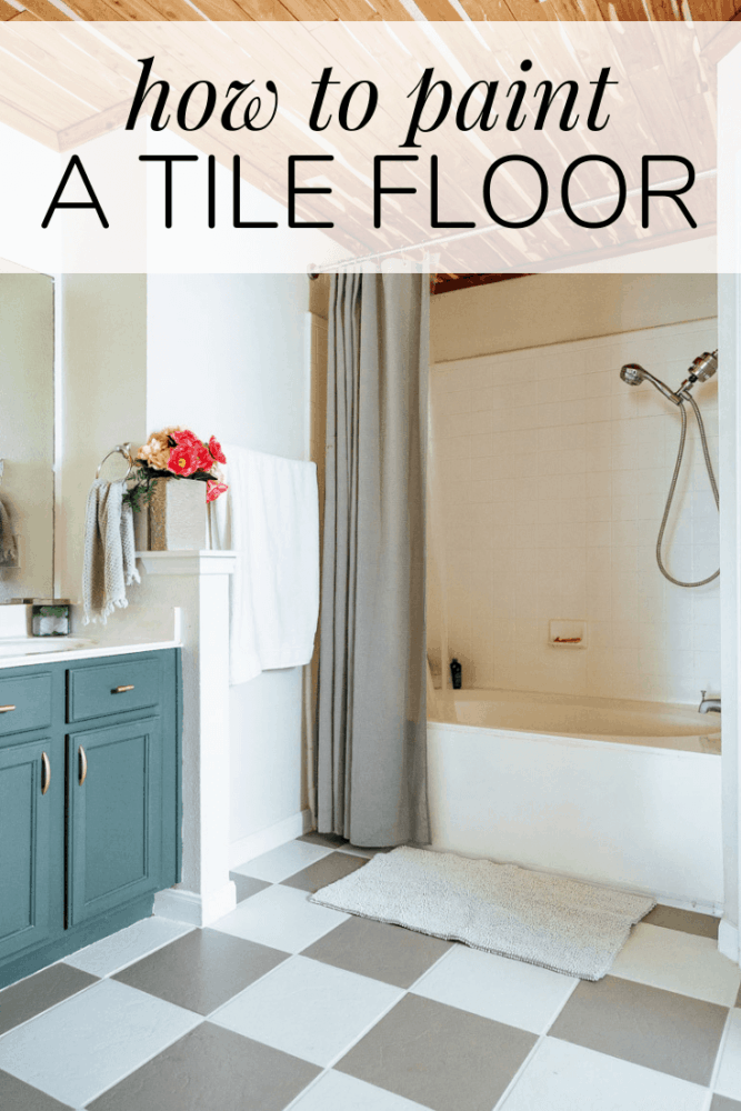 bathroom with tile floor that has been painted