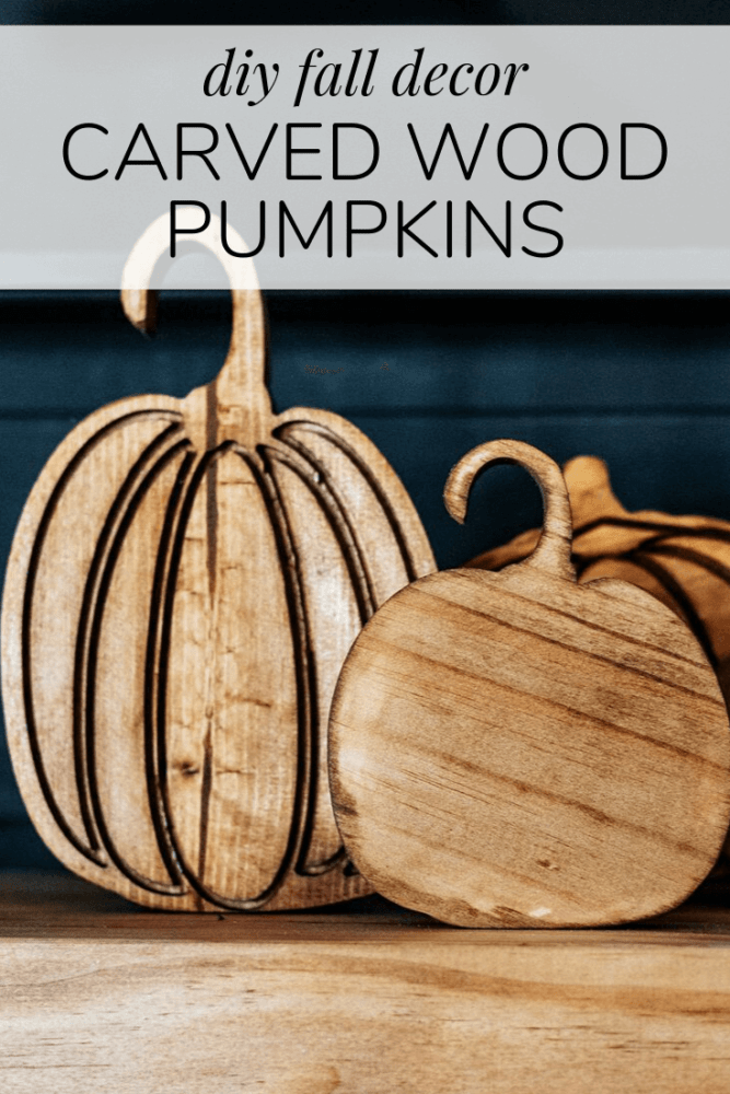 "carved wood pumpkins with text overlay - ""diy fall decor - carved wood pumpkins"""