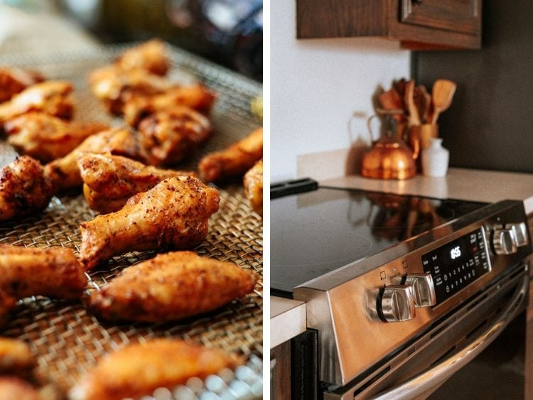 collage of two images. One is a close  up of air fried chicken wings, the other is of the front controls on the Frigidaire Gallery electric range