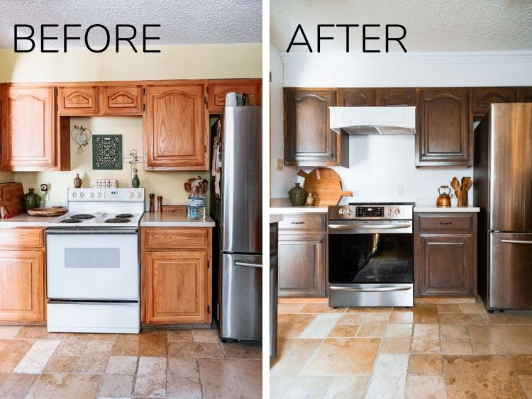 a before and after of a kitchen refresh