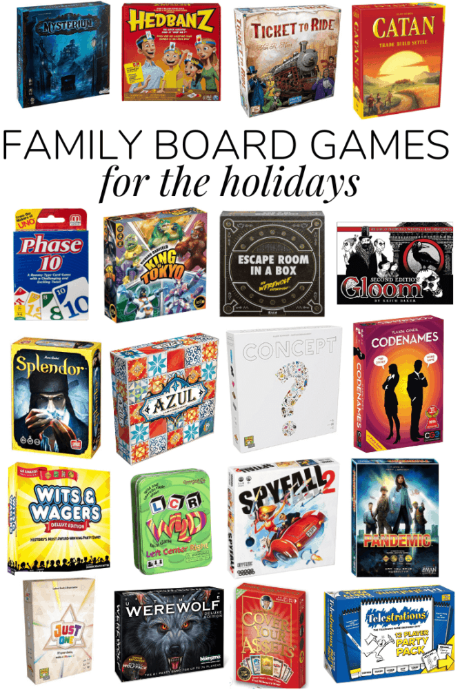 collage of 20 different family board games