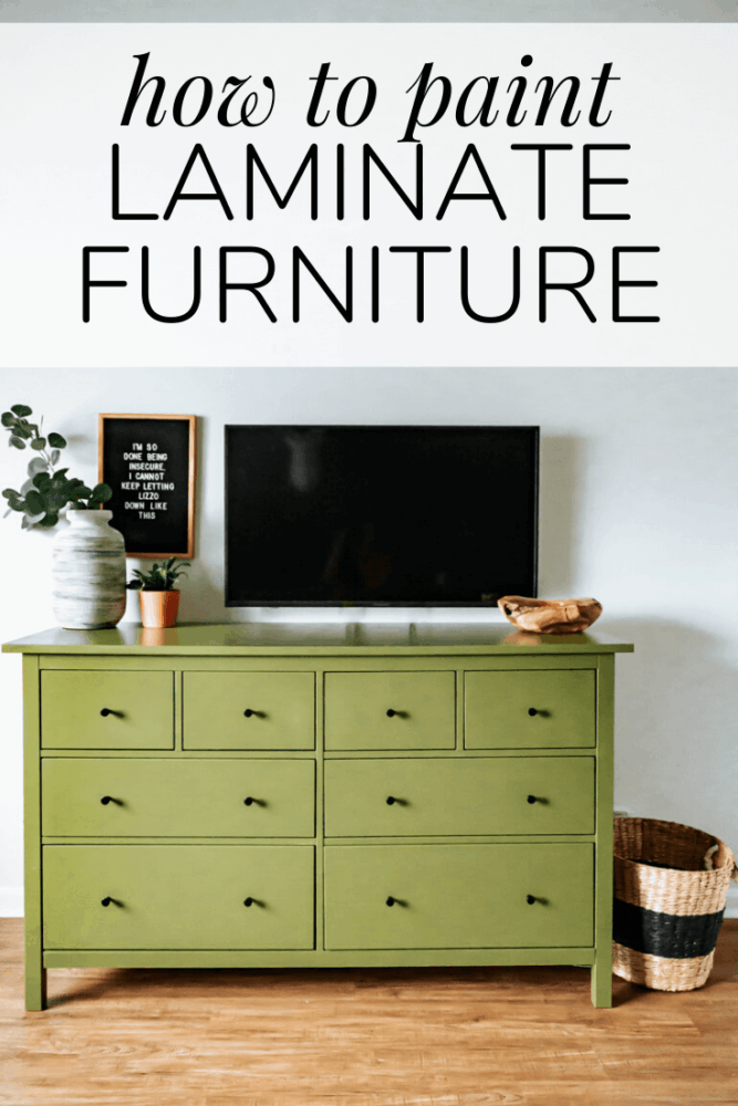 "a painted IKEA dresser with text overlay ""how to paint laminate furniture"""