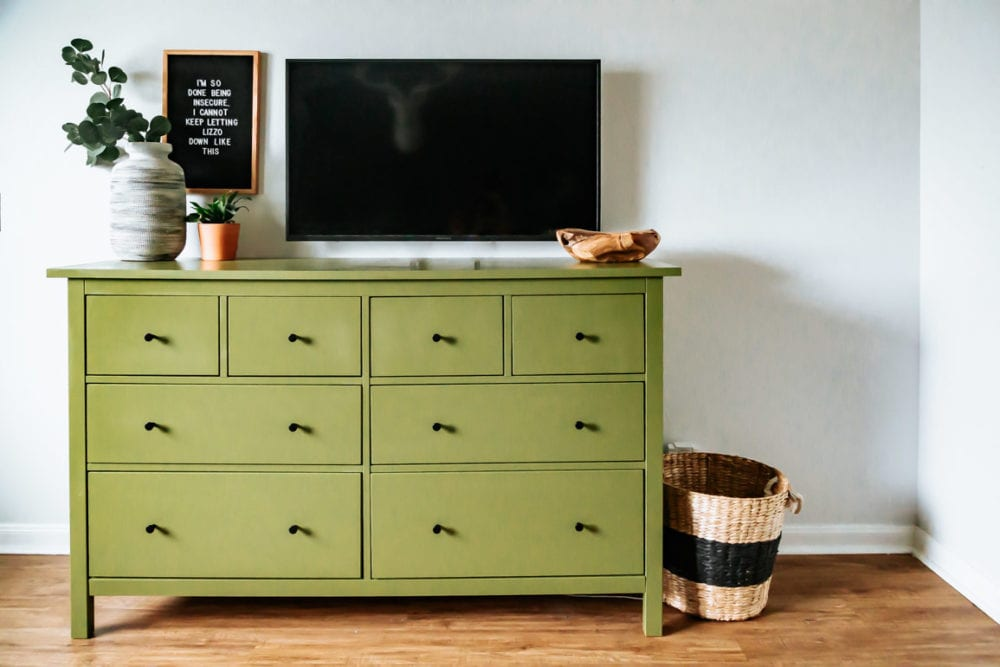 A green IKEA dresser that has been painted