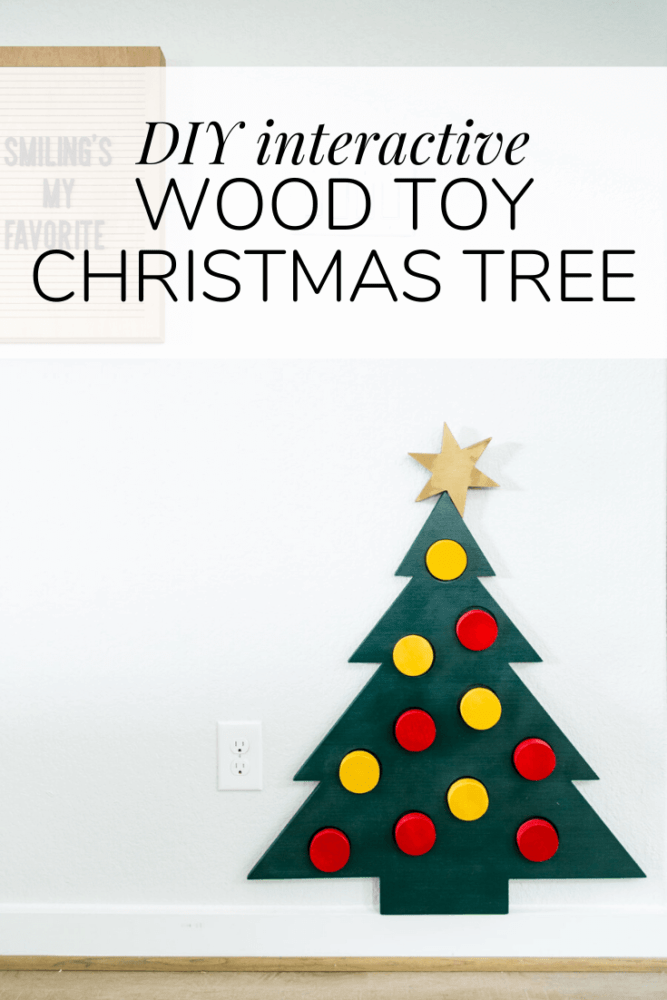"""adorable wood Christmas tree with text overlay - """"diy interactive toy Christmas tree"""""""