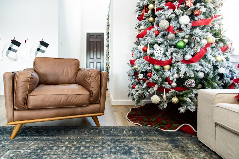 living room with Timber Charme Leather Chair from Article