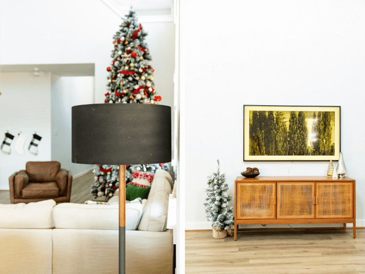 collage of floor lamp and living room with The Frame TV