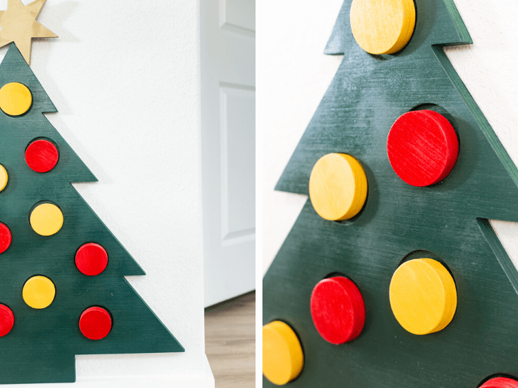 collage of close-up images of wood Christmas tree