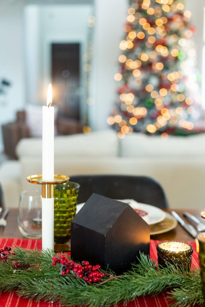 traditional Christmas table centerpiece