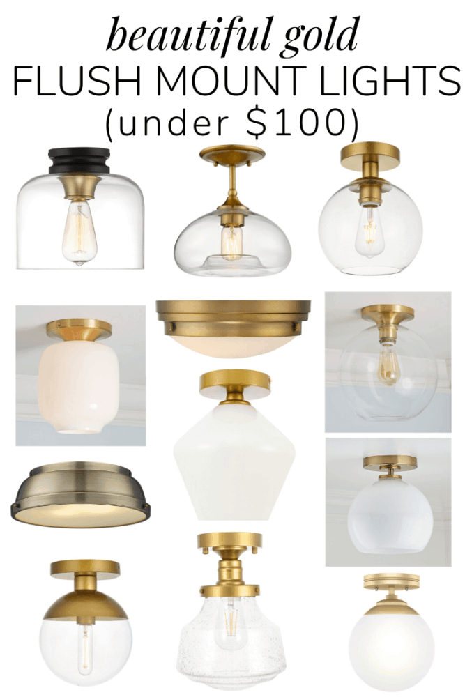 gallery of 12 different gold flush mount lights under $100