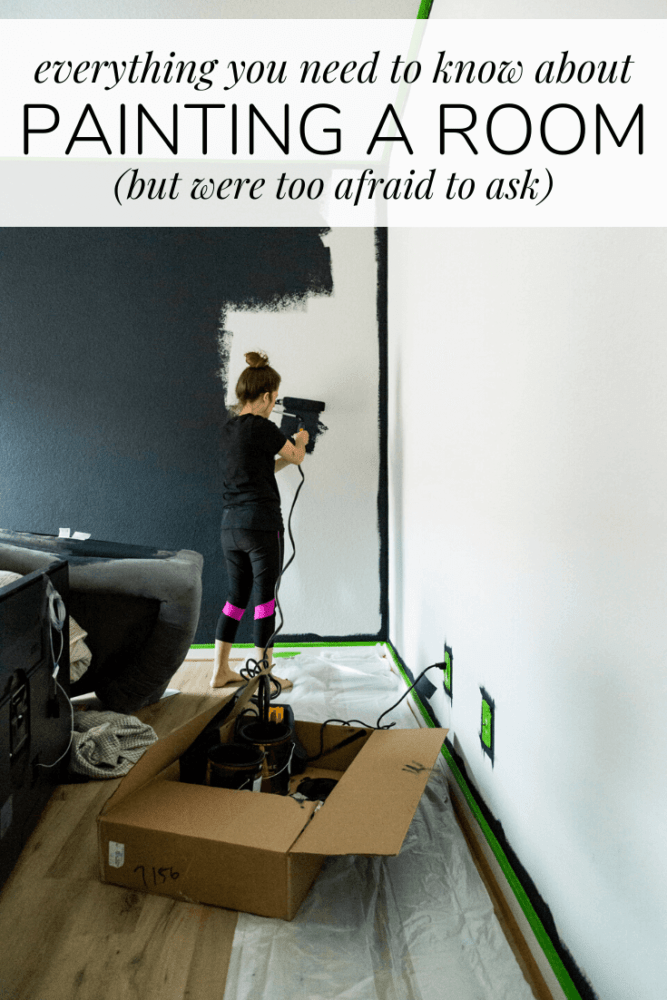 woman painting a wall with text overlay - everything you need to know about painting a room (but were too afraid to ask)