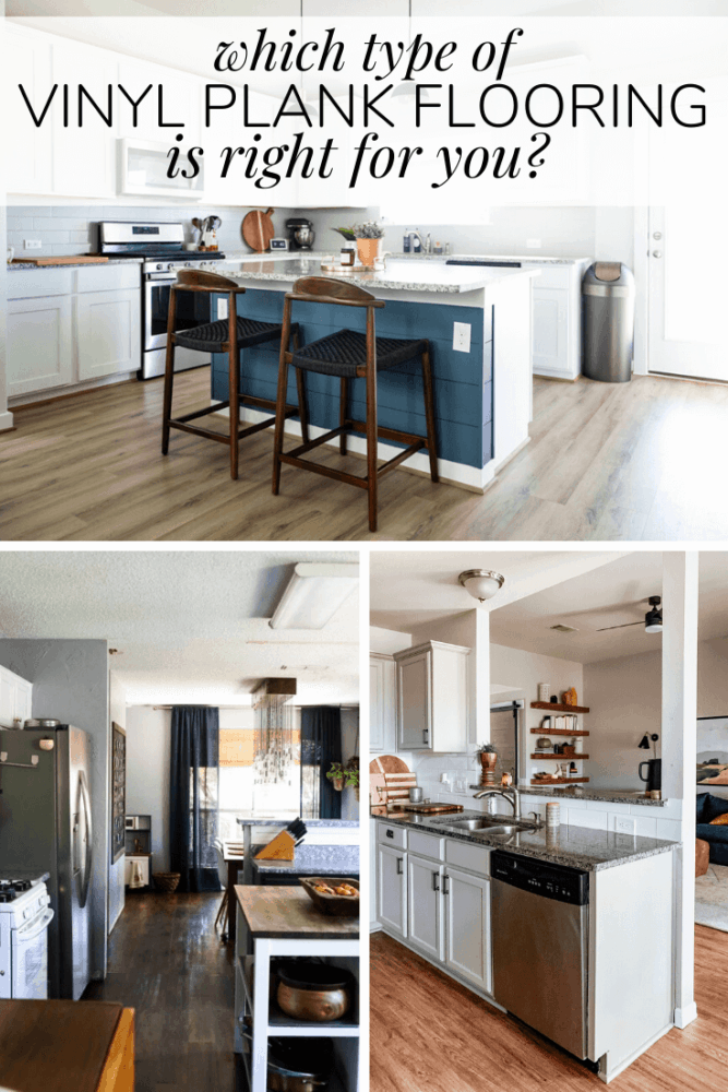 collage of three kitchens with different flooring