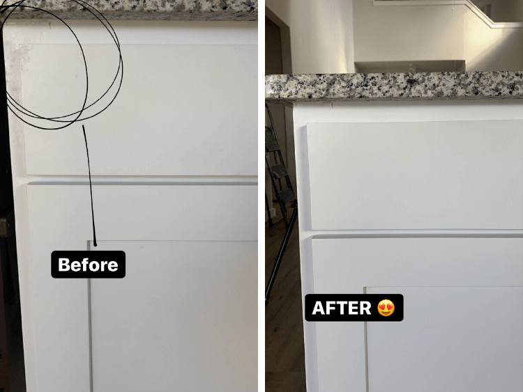 before and after of cleaning white cabinets