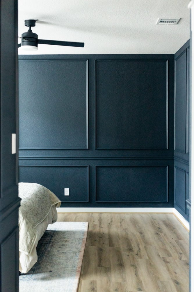 master bedroom with DIY picture molding trim