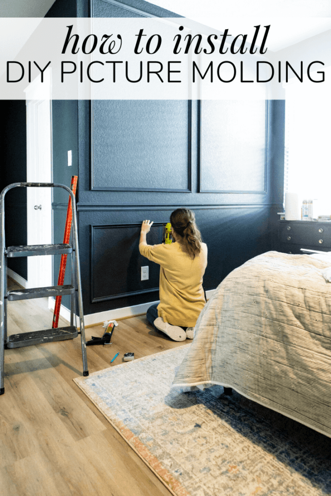 woman installing wall trim with text overlay - how to install diy picture molding