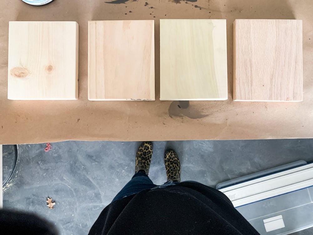 four types of wood for staining experiment