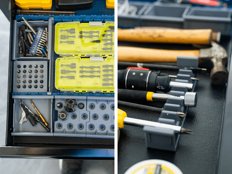 workbench drawers with tool organization