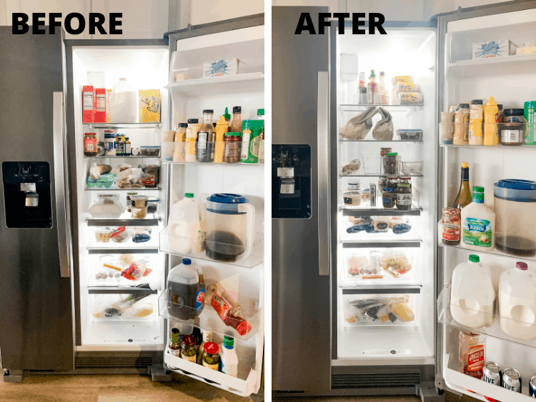 before and after of fridge organization