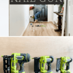 Collage of nail gun images with text overlay - how to use a nail gun