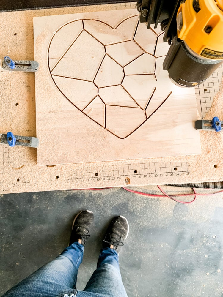 X-Carve carving a heart-shaped puzzle