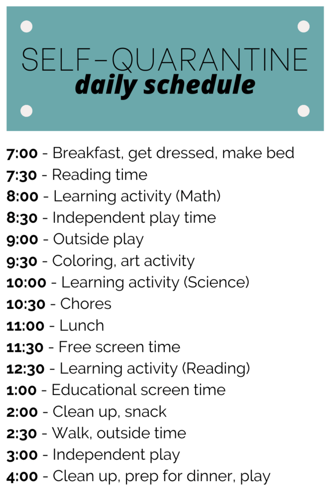 a self-quarantine daily schedule for families with kids