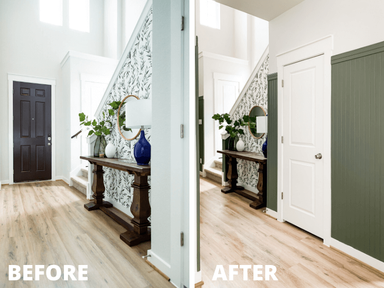 before and after of entry makeover