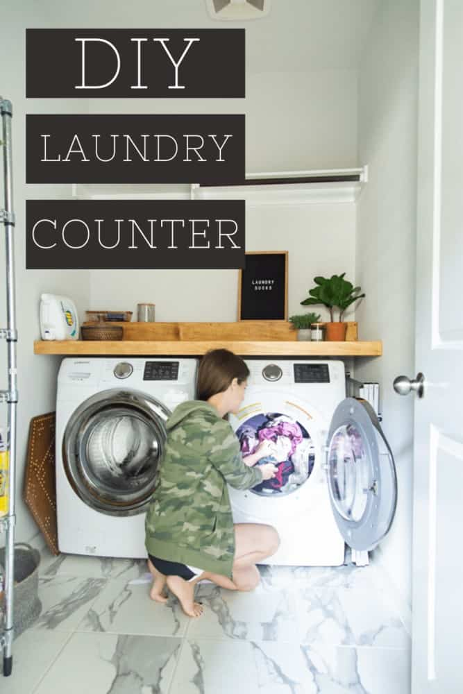 """Woman putting laundry into a dryer with text overlay on the image. Text overlay states """"DIY laundry counter"""""""