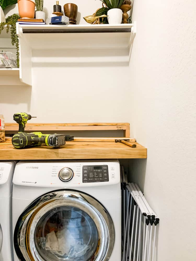 Partially-complete laundry room countertop