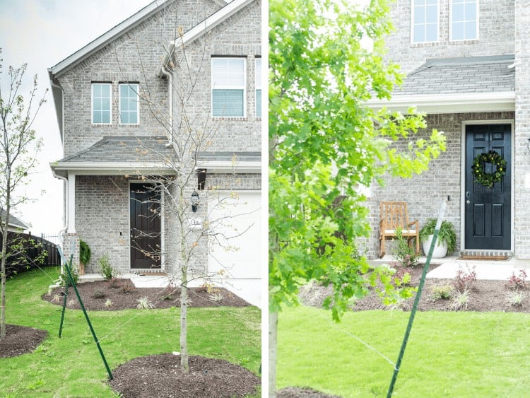 Before and after spring front porch