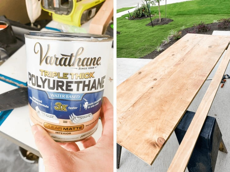 Two images side by side. One is a close up of Varathane Triple Thick Poly can, the other is an image of a laundry room countertop stained, but not yet installed.