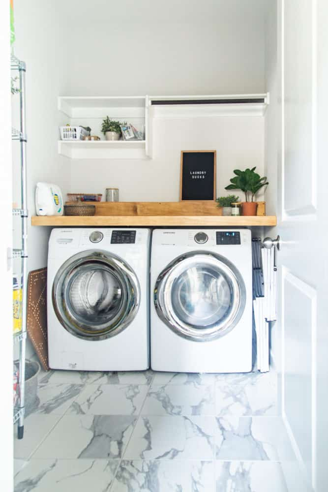 Laundry room with a DIY wood countertop