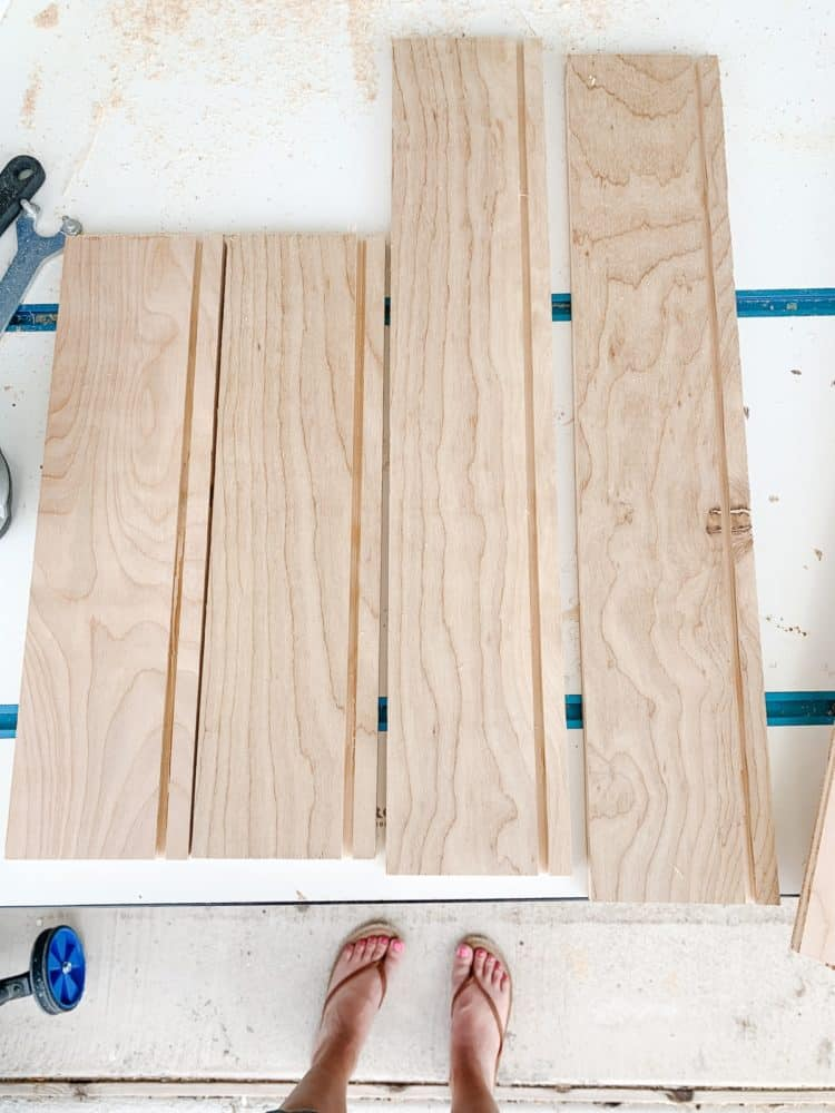 four drawer sides before assembly