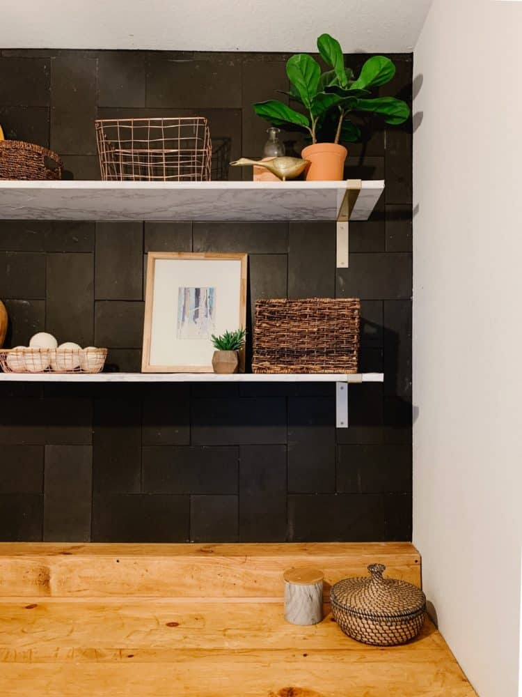 close up of DIY laundry room shelving