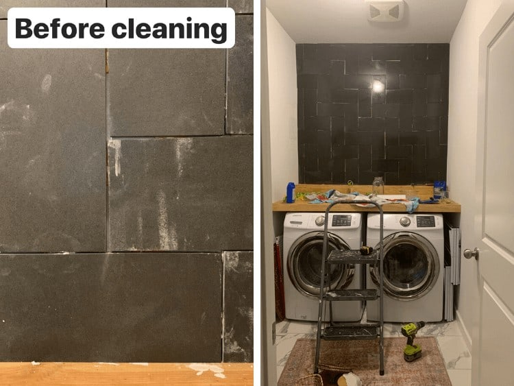 before and after of cleaning tile
