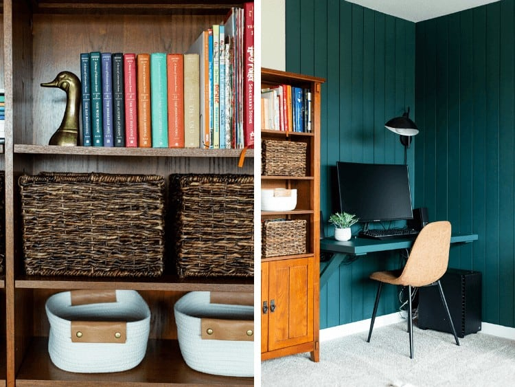 collage of bookcase and floating desk