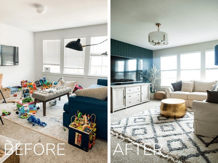 before and after of family room makeover