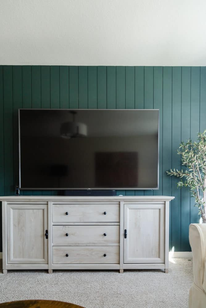large media console in a family media room