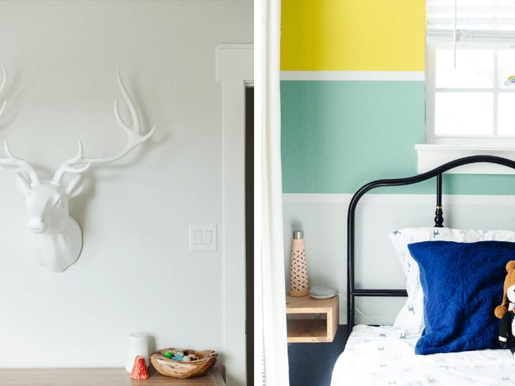 collage of close-up images from a bold and colorful kids room