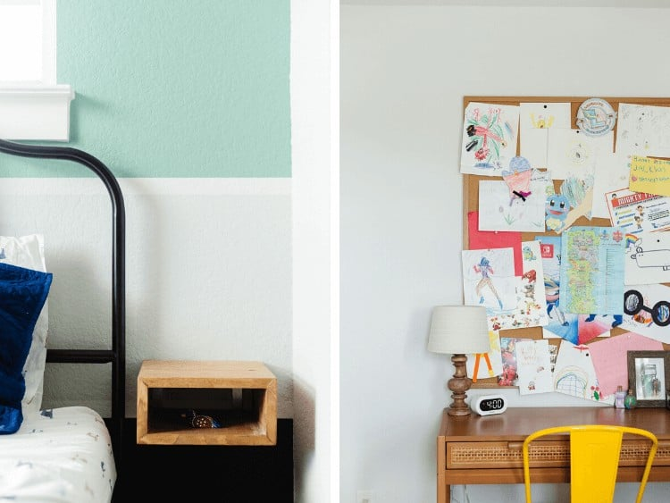 two close-up images of details from bold and bright kids room