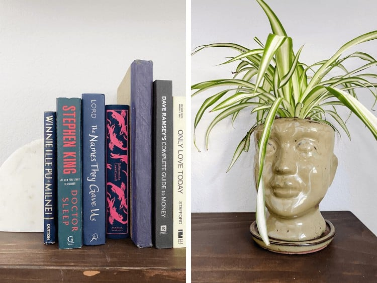 collage of two close up images of shelf styling
