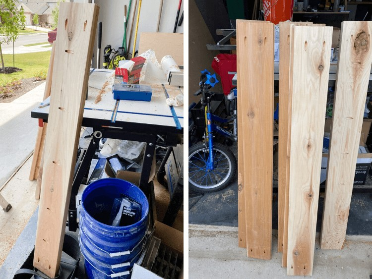 collage of wood for vertical herb garden