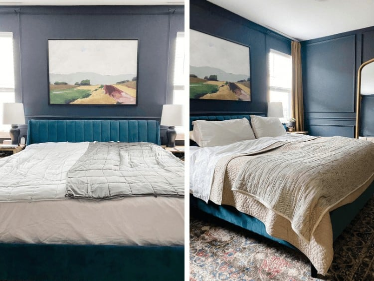 Side by side image of bed with weighted blankets and fully made