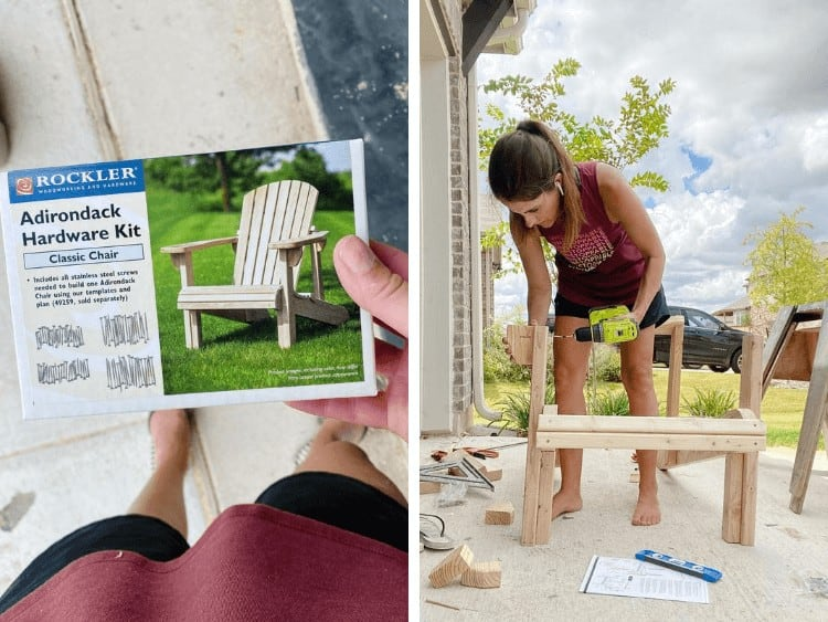 collage of two images - a hardware kit for an Adirondack chair and a woman assembling a chair