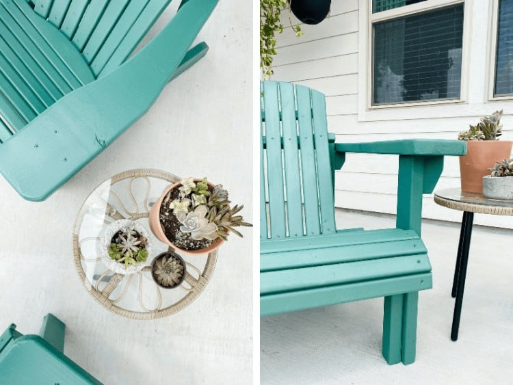 collage of two close up images of DIY Adirondack chairs