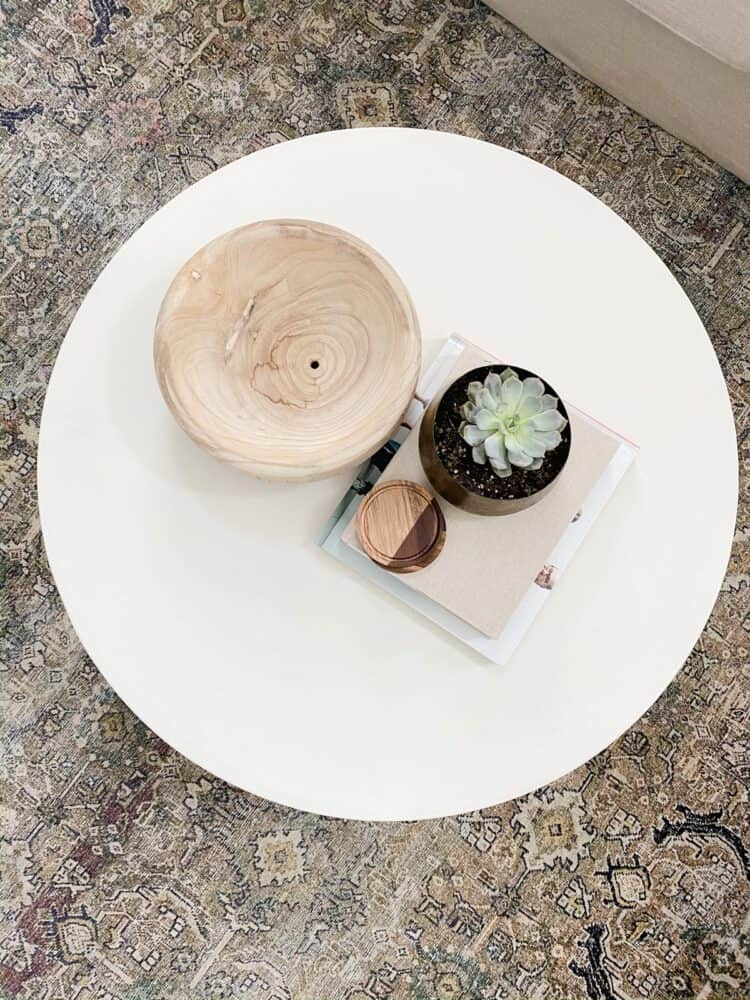 CB2 Cap Ivory Cement Coffee table viewed from above
