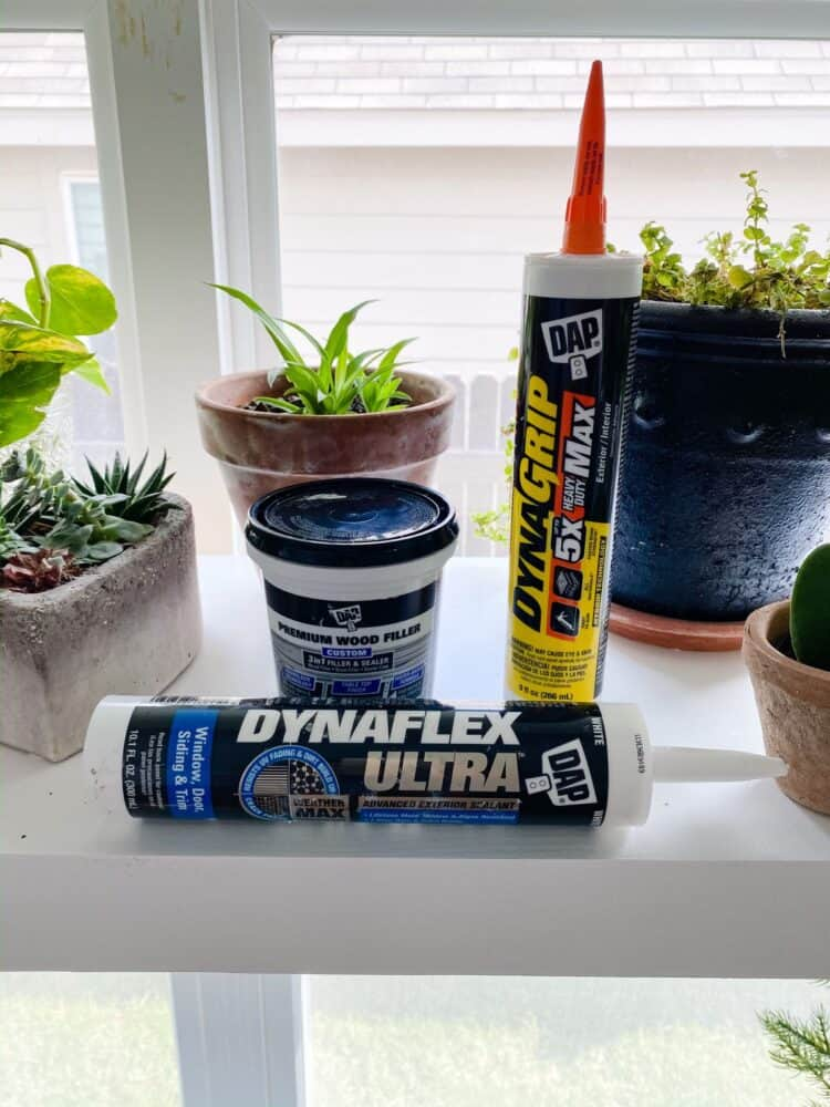 three DAP products used for a plant shelf