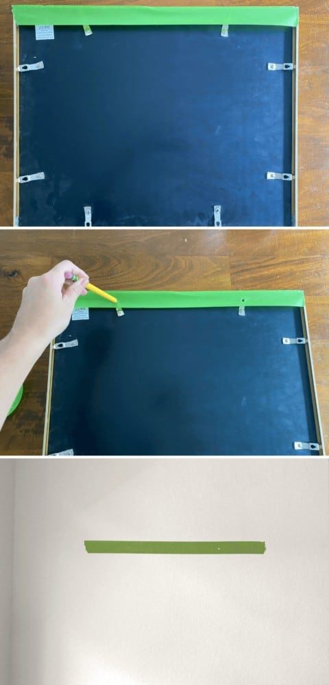 collage of images of how to use the painter's tape trick.