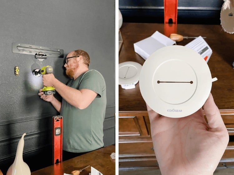 collage of two images of a cable routing system being installed to hide television cords
