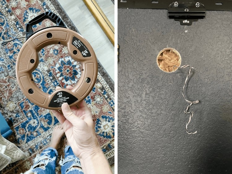 collage of a fish tape for running wires and a close up of a hole for running cable wires and hiding television cords