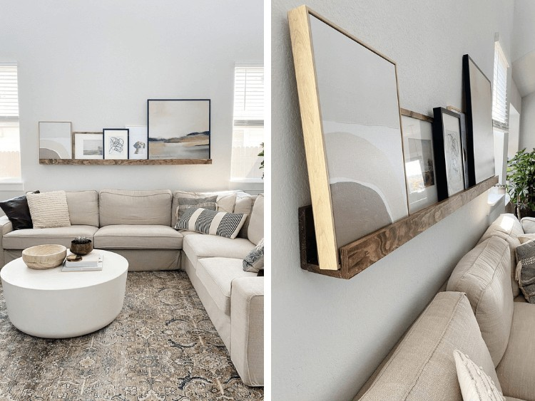 two side by side images of a neutral living room. Once shows the entire room, one is a close up of a DIY art ledge